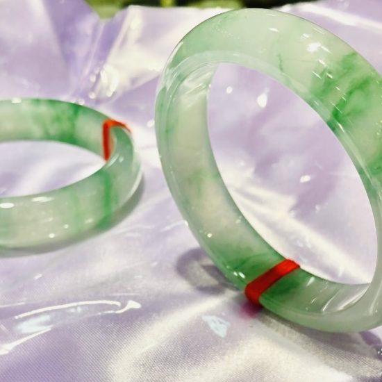 Highly Translucent Floral Floating Green Jadeite Bangle
