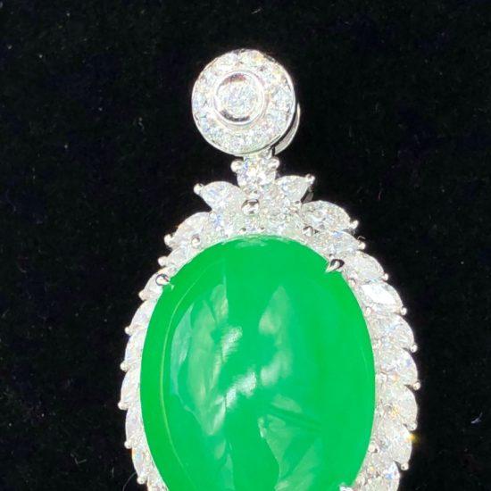 Huge Translucent Green Cabochon Jadeite Pendant