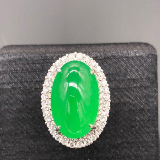 Huge Translucent Green Cabochon Jadeite Ring