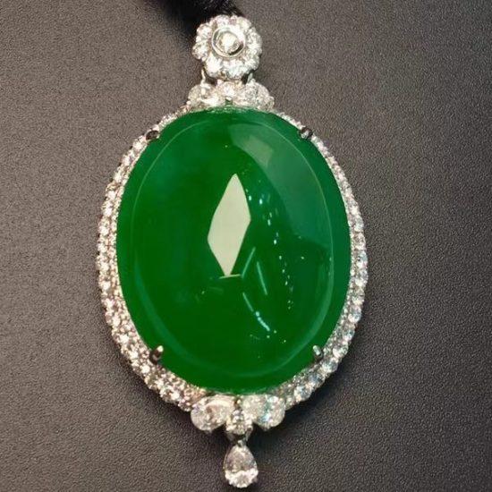 huge translucent imperial green cabochon jadeite pendant